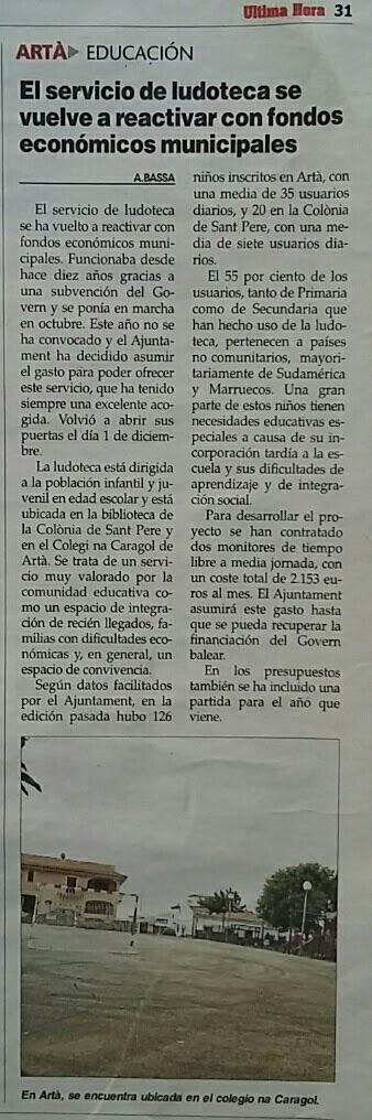 NotíciaÚH301215_Comunicat_Ludoteca_291215